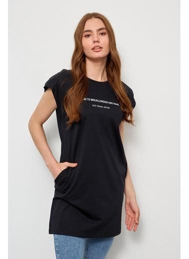 Setre Siyah Vatkalı Kolsuz T-Shirt Siyah